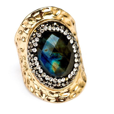 Aurora Labradorite Statement Ring