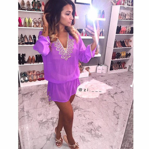 Beach Glam Purple and Gold Silk Kaftan