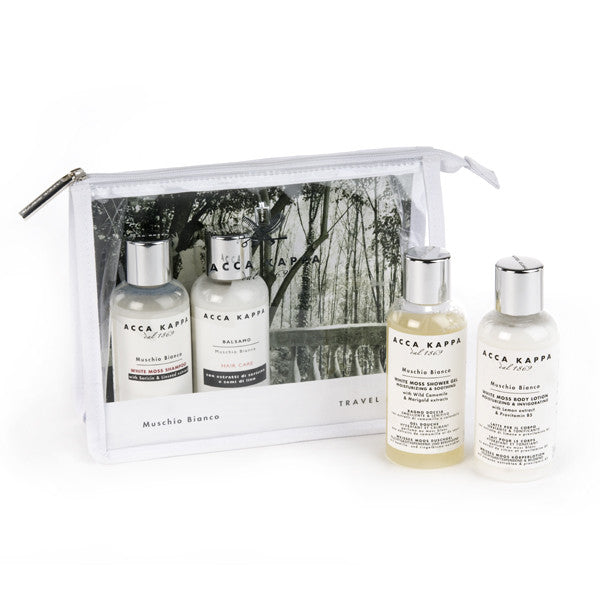 Acca Kappa White Moss Travel Set with EDC, Shampoo, Conditioner and Body Lotion