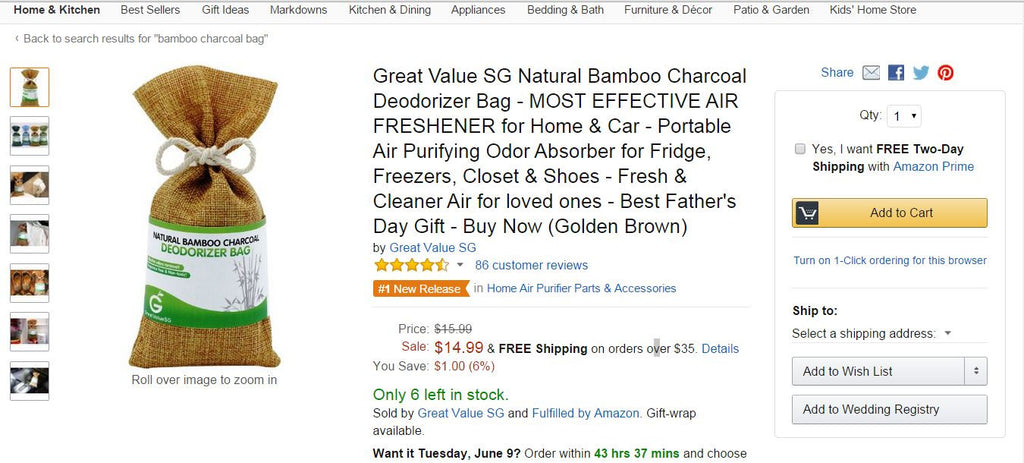 Golden Brown Natural Bamboo Charcoal Deodorizing Bag Is No. 1 Hot New Release On Amazon.com