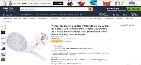 Lavender Purple Wonder Zap Electric Bug Zapper is Number 1 New Release on Amazon