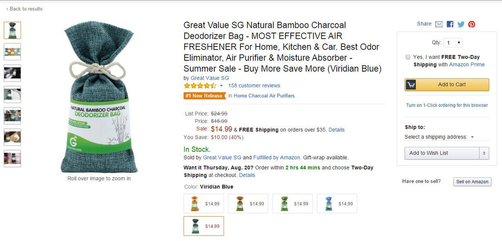 Viridian Blue Natural Bamboo Charcoal Deodorizing Bag Got No. 1 Hot New Release Badge On Amazon.com