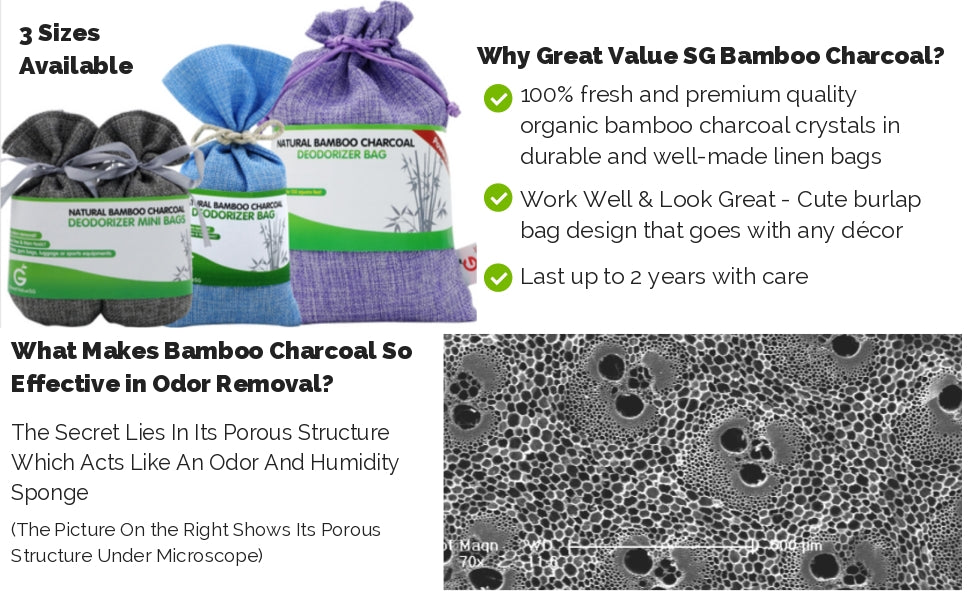 Great Value SG Natural Bamboo Charcoal Deodorizer Bags