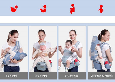 using ergonomic baby carrier for different stage of baby