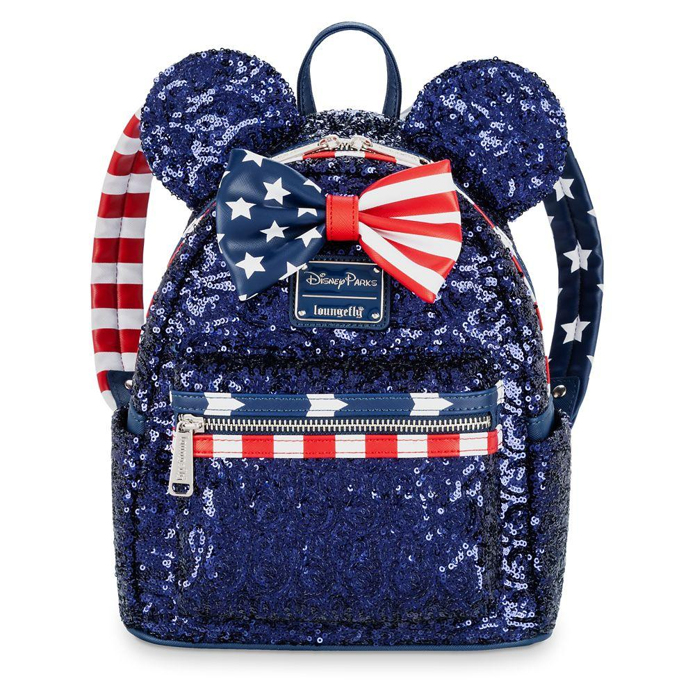 Loungefly x Disney Parks Minnie Mouse Stars and Stripes Sequined Mini Backpack