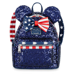 Loungefly x Disney Parks Minnie Mouse Stars and Stripes Sequined Mini Backpack - Fugitive Toys