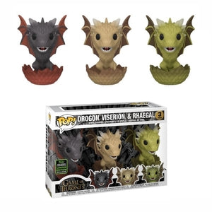 Game of Thrones Pop! Vinyl Drogon Viserion Rhaegal [3 Pack] [ECCC Shared Sticker]