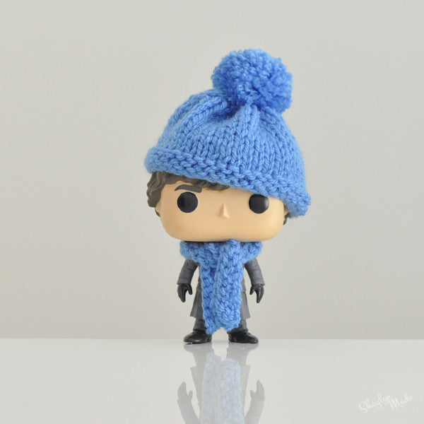 Pop! Apparel Knitted Beanie & Scarf Set [Cornflower Blue]