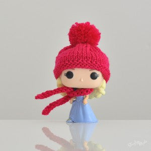 Pop! Apparel Knitted Beanie & Scarf Set [Fuschia]