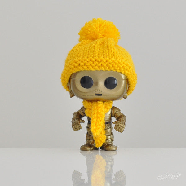 Pop! Apparel Knitted Beanie & Scarf Set [Gold]