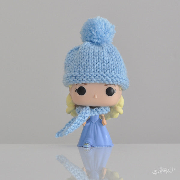 Pop! Apparel Knitted Beanie & Scarf Set [Pale Blue]