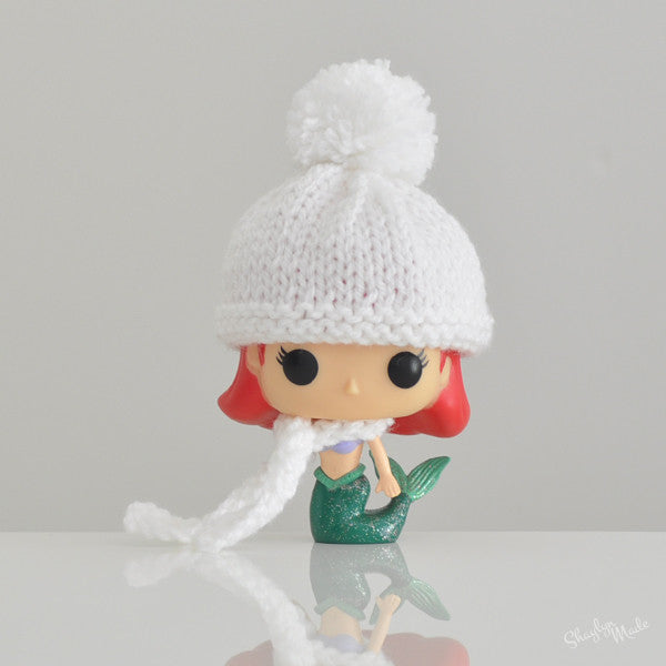 Pop! Apparel Knitted Beanie & Scarf Set [White]