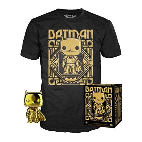 DC Pop! Vinyl Figure Gold Chrome Batman & T-Shirt - Small