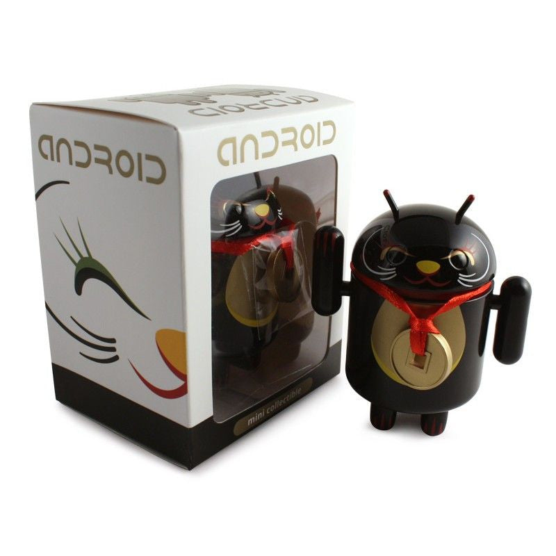 Android Mini Collectible Lucky Cat Series - Black Lucky Cat w/ Collar Coin