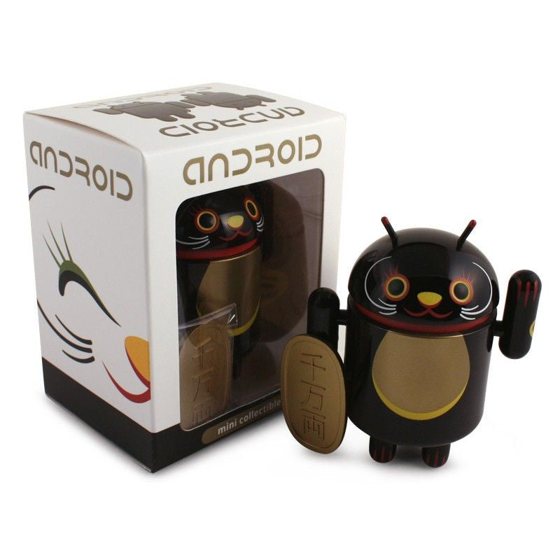 Android Mini Collectible Lucky Cat Series - Black Lucky Cat w/ Koban Coin
