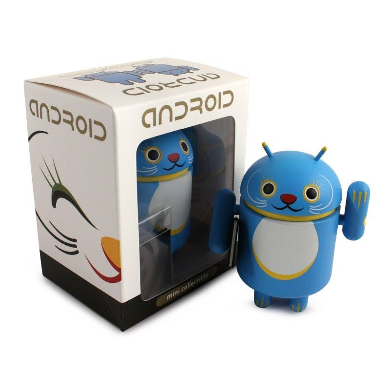 Android Mini Collectible Lucky Cat Series - Blue Lucky Cat w/ Notebook