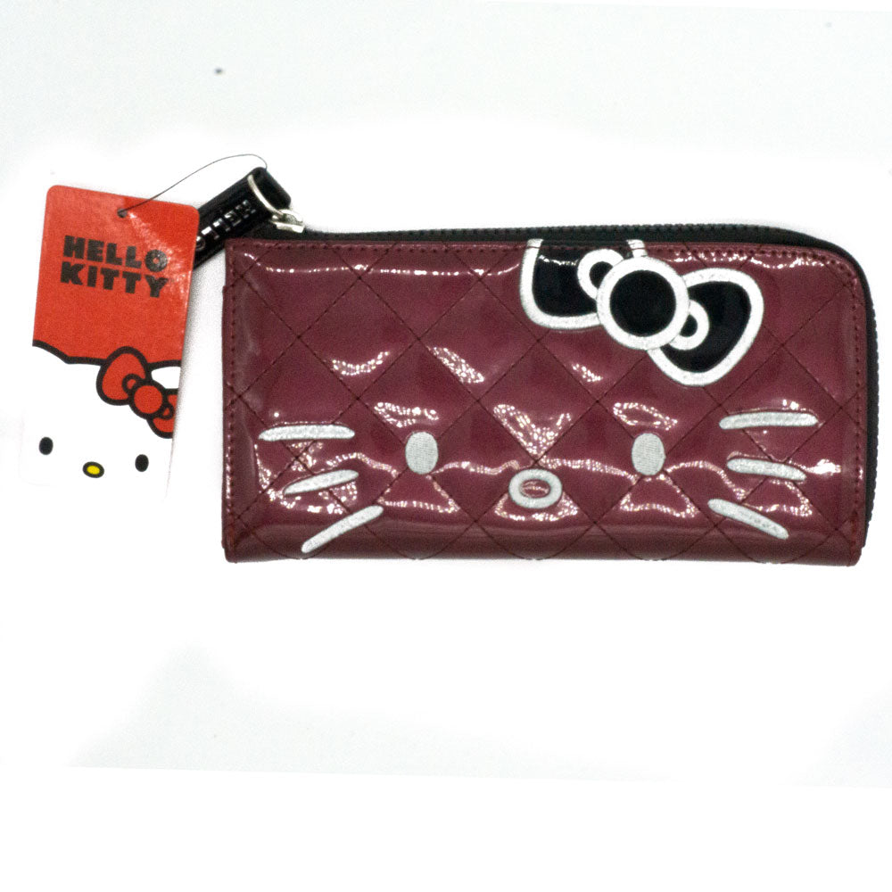 Loungefly x Hello Kitty Burgundy Patent Quilted Wallet - Fugitive Toys