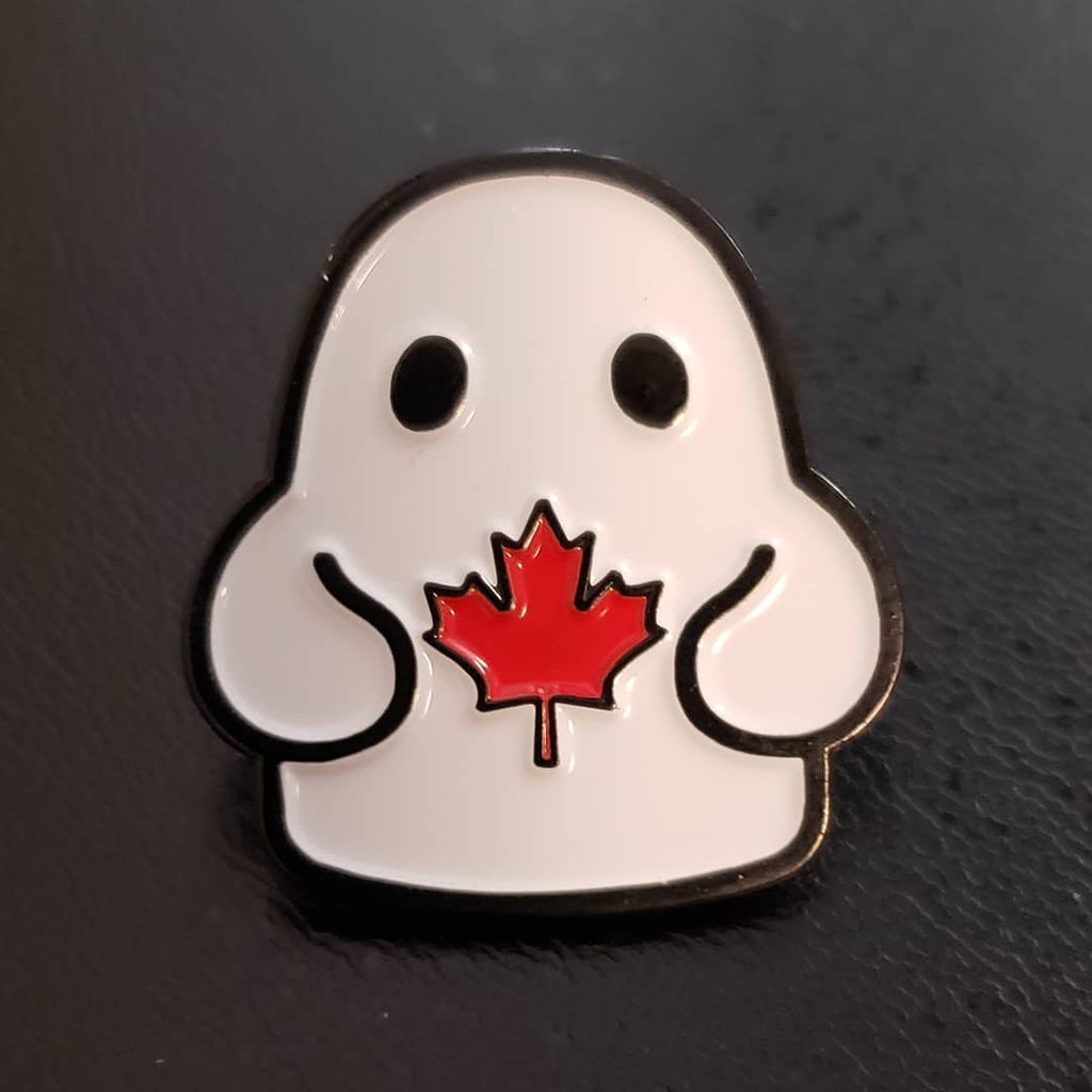 Bimtoy Tiny Ghost Pin [Red Canadian Maple Leaf]