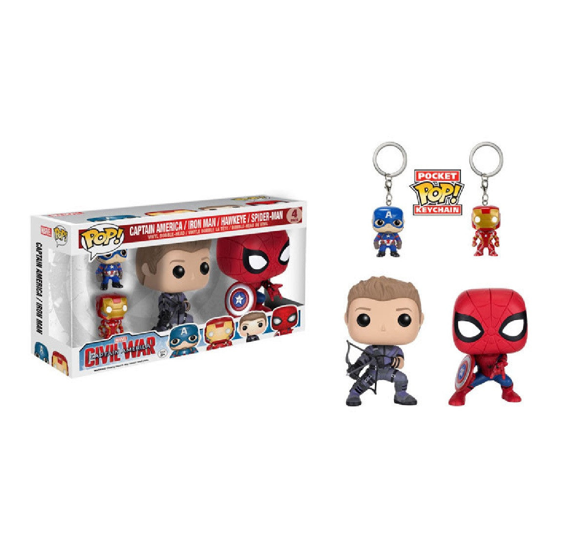 Marvel Pop! Vinyl Civil War 4 Pack [Captain America/Iron Man/Hawkeye/Spiderman] - Fugitive Toys