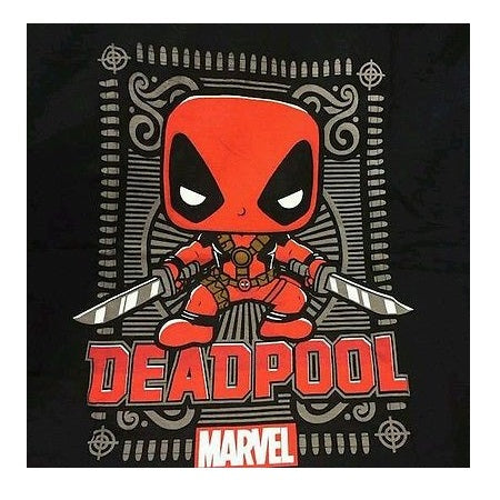 Marvel Pop! Tees Ornate Deadpool Black - XS