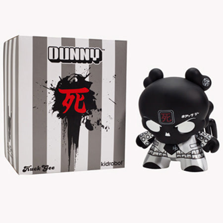 "Kidrobot Skullhead Dunny 8"" Black Revisited Vinyl Figure by Huck Gee"