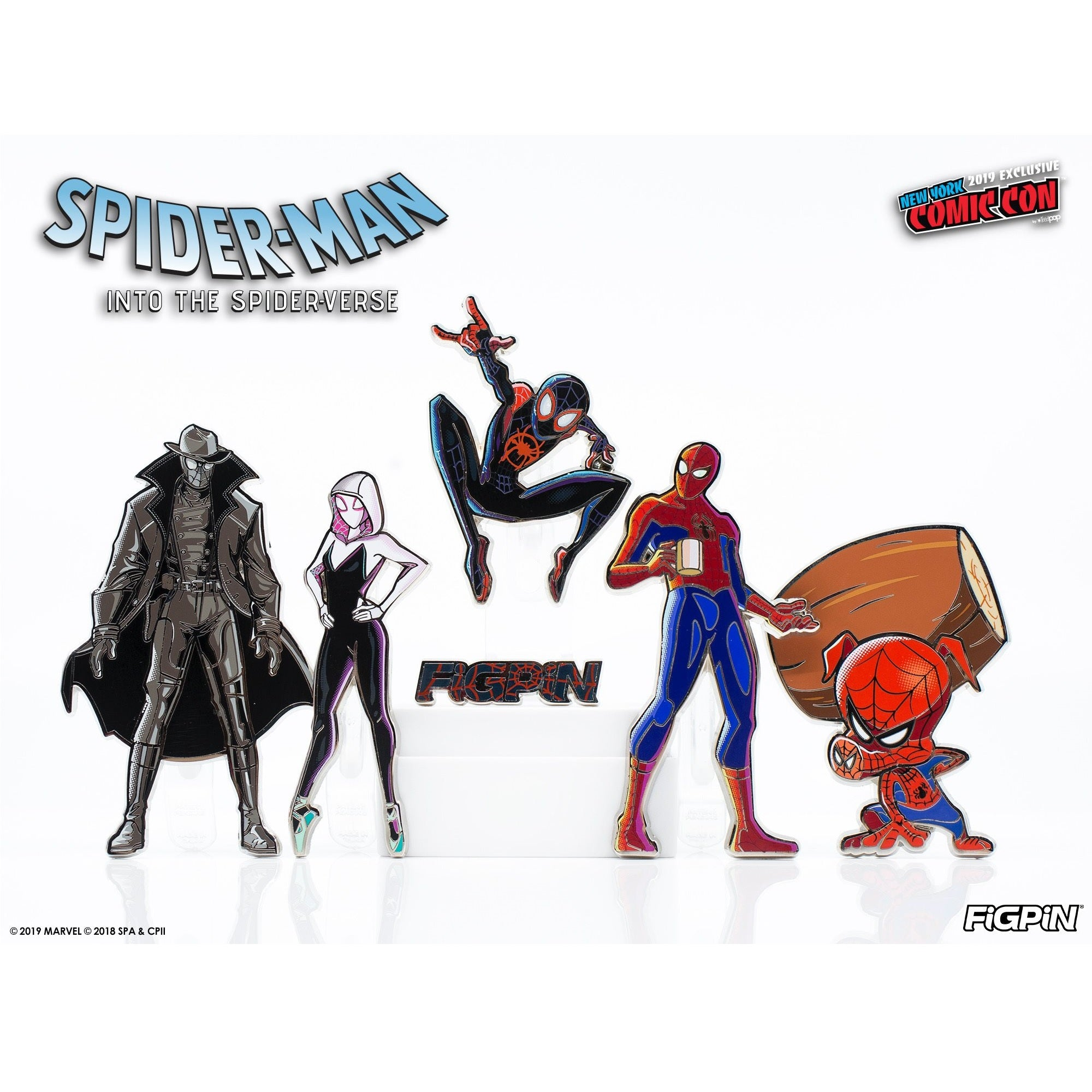 FiGPiN Spider-Man: Into the Spider-Verse Set w/ Logo Pin [NYCC Exclusive] - Fugitive Toys