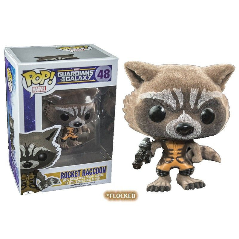 Marvel Guardians of the Galaxy Pop! Vinyl Bobblehead Flocked Rocket Raccoon [Exclusive]
