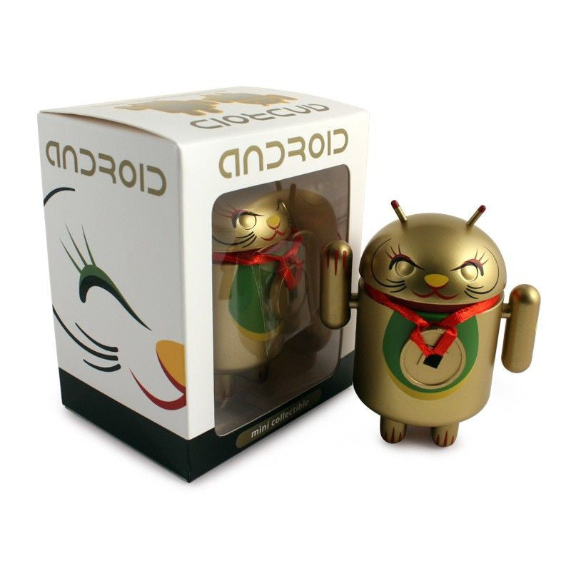 Android Mini Collectible Lucky Cat Series - Gold Lucky Cat w/ Collar Coin