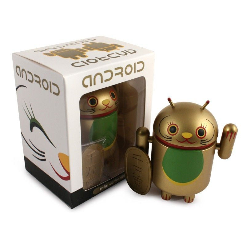 Android Mini Collectible Lucky Cat Series - Gold Lucky Cat w/ Koban Coin