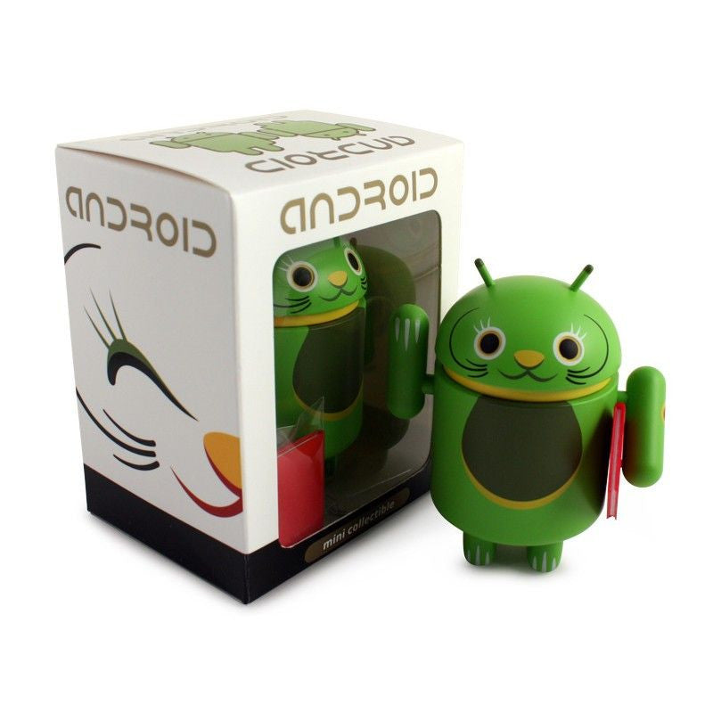 Android Mini Collectible Lucky Cat Series - Green Lucky Cat w/ Notebook