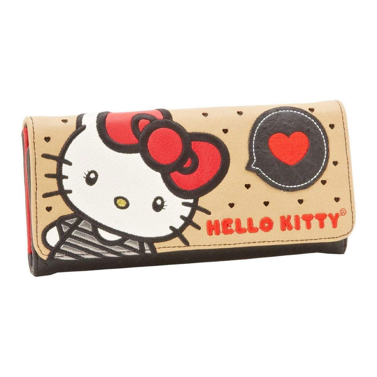 Loungefly x Hello Kitty Large Bow Tan Tri-Fold Wallet - Fugitive Toys
