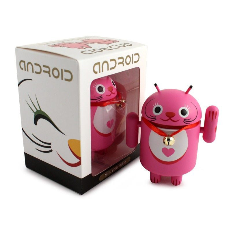 Android Mini Collectible Lucky Cat Series - Pink Lucky Cat w/ Collar Bell