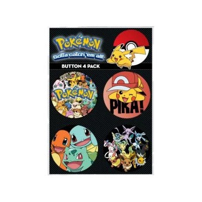 Loungefly x Pokemon Button Pin 4-Pack Pikachu and Friends Set