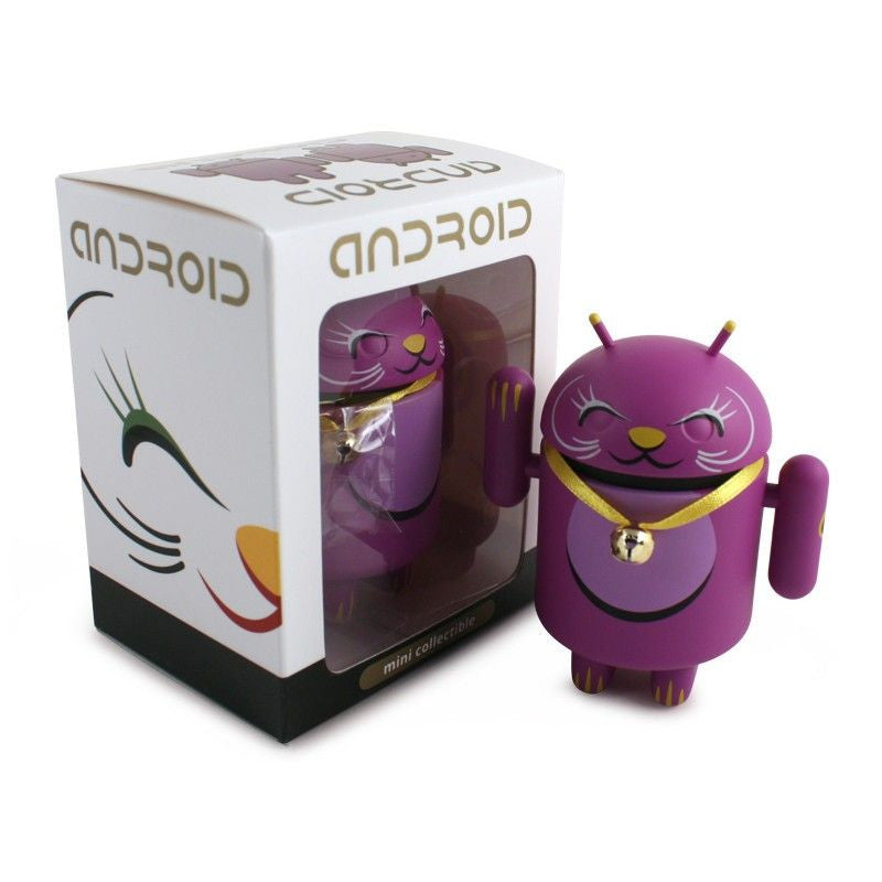 Android Mini Collectible Lucky Cat Series - Purple Lucky Cat w/ Collar Bell