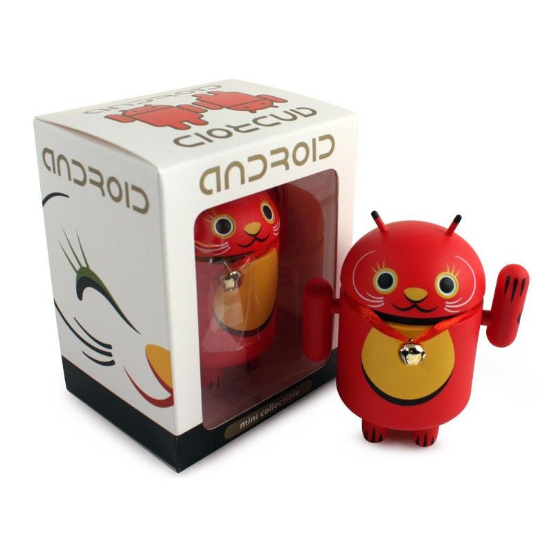 Android Mini Collectible Lucky Cat Series - Red Lucky Cat w/ Collar Bell