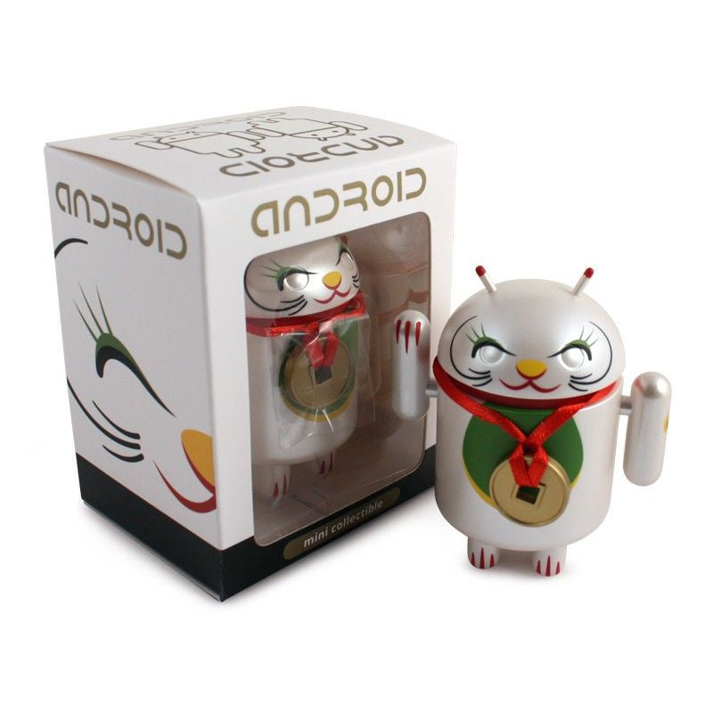Android Mini Collectible Lucky Cat Series - White Lucky Cat w/ Collar Coin