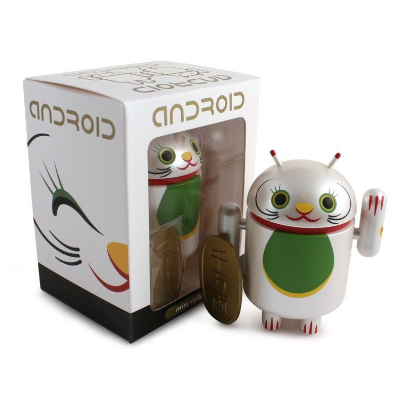 Android Mini Collectible Lucky Cat Series - White Lucky Cat w/ Koban Coin