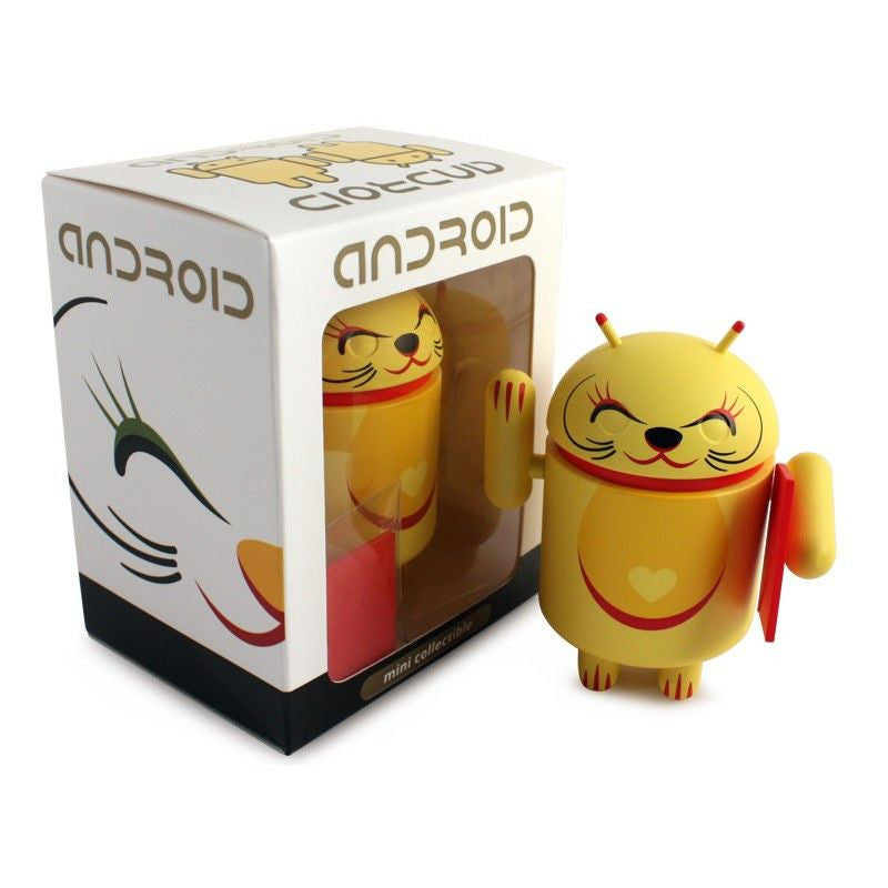 Android Mini Collectible Lucky Cat Series - Yellow Lucky Cat w/ Red Envelope - Fugitive Toys