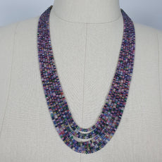 Natural Untreated MULTI SAPPHIRE Gemstone Faceted Shaded Rondelle Checker Cut Beads Necklace 18.2