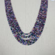 "Natural Untreated MULTI SAPPHIRE Gemstone Faceted Shaded Rondelle Checker Cut Beads Necklace 18.2"" - 20.2"""