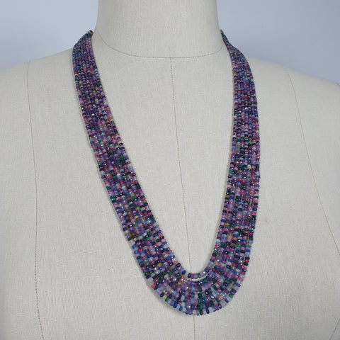 MULTI SAPPHIRE Gemstone NECKLACE : Natural Untreated Sapphire Faceted Shaded Rondelle Checker Cut Beads Necklace 19.2