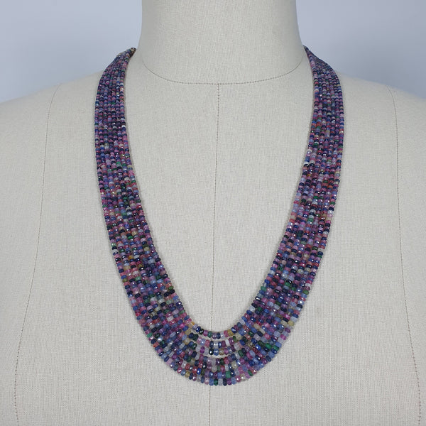 "Natural Untreated MULTI SAPPHIRE Gemstone Faceted Shaded Rondelle Checker Cut Beads Necklace 19"" - 22"""