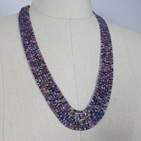Natural Untreated MULTI SAPPHIRE Gemstone Faceted Shaded Rondelle Checker Cut Beads Necklace 19
