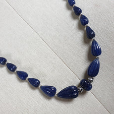 BLUE SAPPHIRE Gemstone NECKLACE : Natural Untreated Sapphire Hand Carved Melon Tear Drops 24