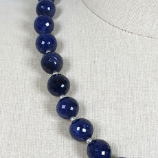 BLUE SAPPHIRE Gemstone NECKLACE : Natural Untreated Sapphire September Birthstone Round Shape 12mm Checker Cut 20