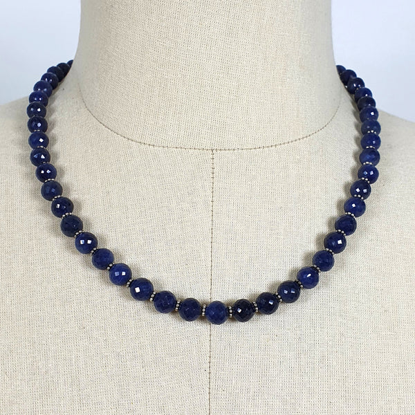 "BLUE SAPPHIRE Gemstone NECKLACE : Natural Untreated Sapphire September Birthstone Round Shape 8mm Checker Cut 17"" Beads Necklace"