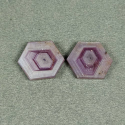 30.85cts Natural Untreated Rosemary Sheen PINK SAPPHIRE Gemstone Hexagon Shape Flat Slice 20*17mm*3(H) Pair For  Earring