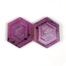 43.80cts Natural Untreated Rosemary Sheen PINK SAPPHIRE Gemstone Hexagon Shape Flat Slice 25*20mm*3(H) Pair For  Earring