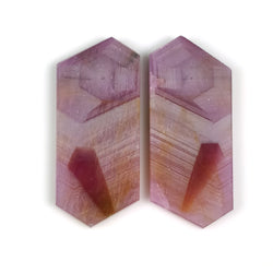 45.40cts Natural Untreated Rosemary Sheen PINK SAPPHIRE Gemstone Hexagon Shape Flat Slice 35*15mm*3(H) Pair For  Earring