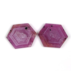 47.60cts Natural Untreated Rosemary Sheen PINK SAPPHIRE Gemstone Hexagon Shape Flat Slice 26.5*22mm*3(H) Pair For Earring